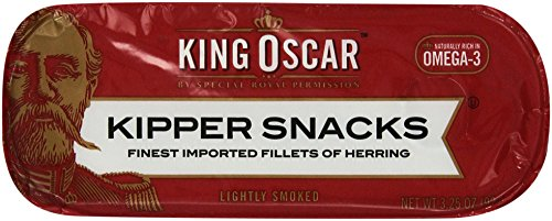 Smoked Herring Fillets - King Oscar Kipper Snacks Finest Imported Fillets of Herring, 3.25 Ounce (Pack of 10)