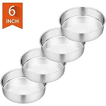 6 Inch Cake Pan, P&P CHEF 4-Piece Stainless Steel Round Baking Pans LayerCakePans Tin Set, Non Toxic & Healthy, Mirror Polished & Dishwasher Safe