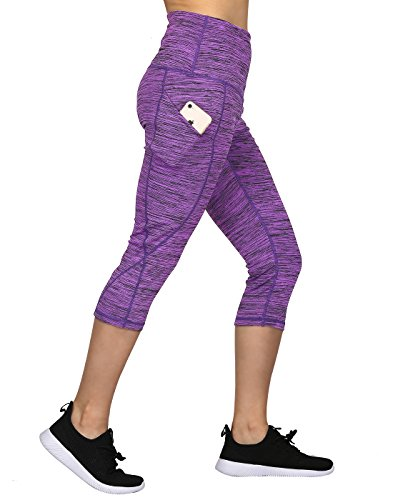 HDE Womens Capri Yoga Pants Fitted Stretch Leggings for Workouts Running (Purple Space Dye, Medium) (Danskin Now Womens Performance Capris With Mesh Detail)