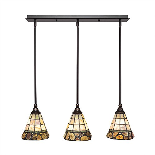 - Toltec Lighting 25-DG-9735 3 Multi Light Mini Pendant with Hang Straight Swivels Shown in Dark Granite Finish with 7-Inch Cobblestone Tiffany Glass