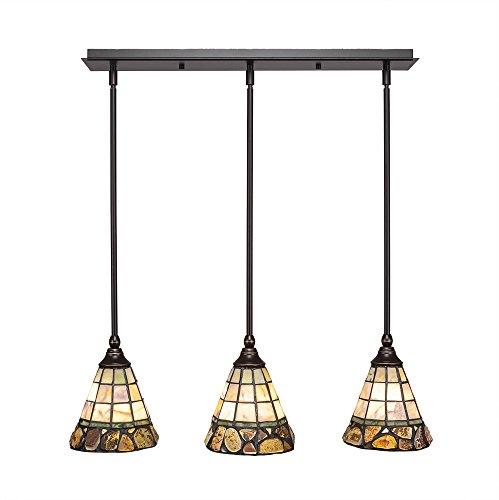 Mini Pendant Cobblestone - Toltec Lighting 25-DG-9735 3 Light Multi-Light Mini Hang Straight Swivel Pendant with Cobblestone Glass, 7