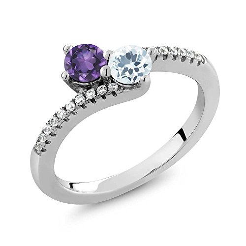 0.70 Ct Purple Amethyst Sky Blue Aquamarine Two Stone 925 Sterling Silver Bypass Ring