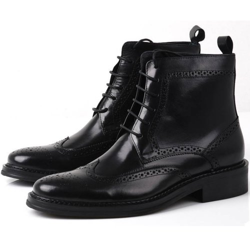 Fulinken Leather Oxford Brogue Wingtip Mens Lace up Boots Dress Leather Military Shoes (9.5, Black)