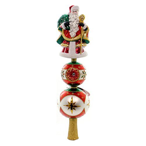 Christopher Radko Reflections of Santa Finial Christmas Tree Topper (Radko Glass Tree Topper)
