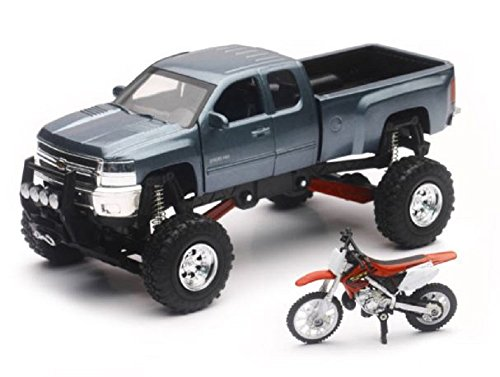 Orange Cycle Parts Die-Cast Replica Toy 1:32 Scale Lifted Gray Chevrolet Chevy Pickup Truck w/ Red Honda CR250R Dirt Bike X'treme Adventure Toy by NewRay SS-54426