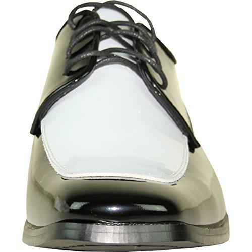 Vangelo Mens Tuxedo Scarpe Tux-3 Bianco E Nero Scarpe Da Ginnastica Senza Rughe Colore Formale Oxford Brevetto Bianco E Nero