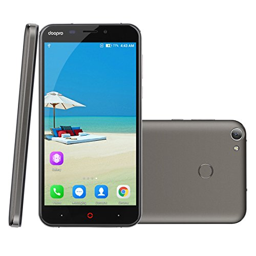 Doopro P2 Pro - 4G Smartphone ohne Vertrag (5.5 Zoll, Android 6.0, 1.3GHz Qualcomm MSM8909 Quad-core, 2GB RAM 16GB ROM, 5200mAh, Fingerprintsensor ID, Dual SIM, Dual Kamera) (Schwarz)