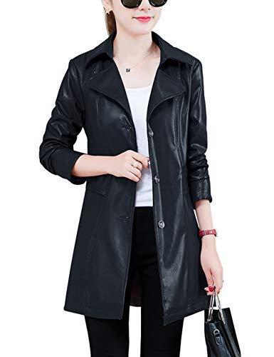 - Jenkoon Women's Notch Lapel PU Leather Long Coat Jacket Single Breasted Trench Coat Jacket (Black, Medium)