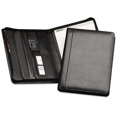 Samsill Regal Leather Padfolio with Zippered Closure, Letter Size Writing Pad, Interior 10.1 Inch Tablet Sleeve, Black by Samsill by Samsill