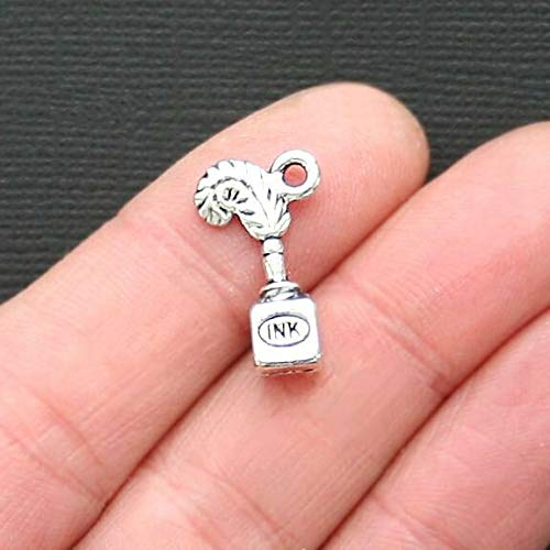 Pendant Jewelry Making for Bracelets and Chains 8 Pen Charms Antique Silver Tone Quill and Ink Bottle 3D - SC3123
