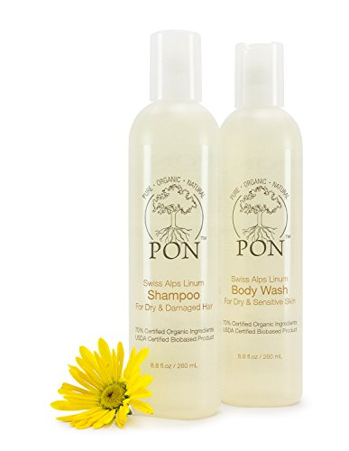 PON - Pure Organic Natural - Aloe Vera Based Shampoo and Body Wash Combo Pack, for Dry & Damaged Hair and Dry & Sensitive Skin, Sulfate and Paraben-Free - 17.6 fl oz, Set of 2 (8.8 fl oz each)
