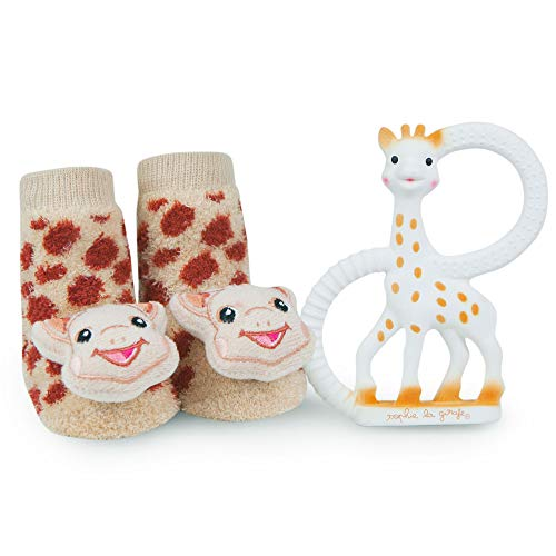Vulli Sophie La Girafe Baby Teether Toy and Waddle Sophie The Giraffe Rattle Socks Newborn Set Natural Rubber Teething Ring Unisex Animal Sensory Chew Toys Gum Massager Oral Pain Relief - Rattle Toy Giraffe