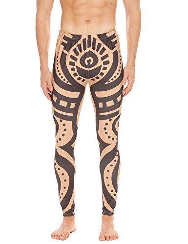 COOFANDY Men's African Tribal Tattoo Print Compression Tights Pants Sports Leggings (M, Nude) -