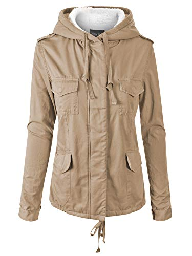 Instar Mode Women's Fleece Lined Hidden Zipper Front Closure Utility Jacket Khaki M (Button Jacket Fur Front)