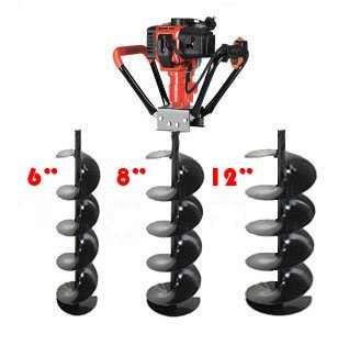 XtremepowerUS 3 Bits(6″, 8″, 12″) V-Type 55CC 2 Stroke Gas Post Hole Digger, Outdoor Stuffs