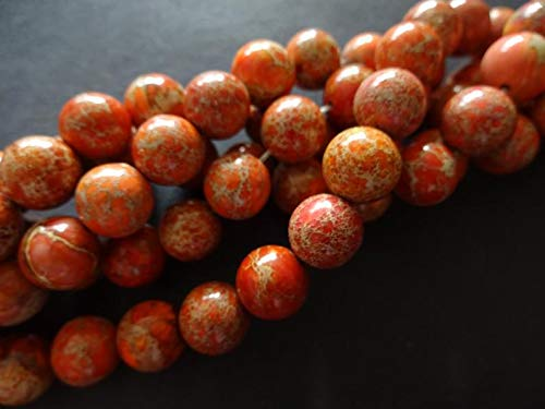 10mm Natural Regalite Ball Beads, Dyed &Heated, 16 Inch Strand, About 39 Dark Orange Gemstone Beads, Natural Stone, Marbled, Swirled - Huge Selection of Beading ()