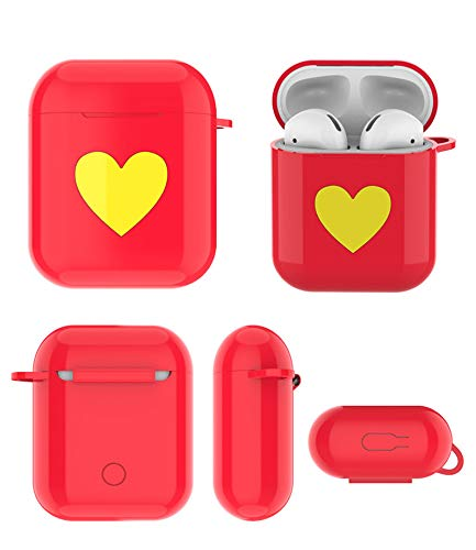 Shanglite Premium Silicone Protective Cover Case for Apple AirPods Silicone AirPods Case Cover Skin with Metal Keychain (Red)