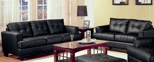 Leather Samuel Bonded Black (2 Piece Sofa And Loveseat set - Samuel Collection by Coaster In Black Bonded Leather. Free Curbside delivery.)