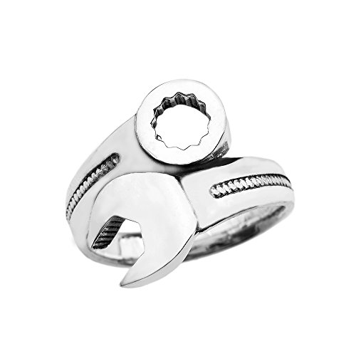 Mechanic Wrench Sterling Silver Ring (Size 11.5) by Men's Fine Jewelry (Image #1)