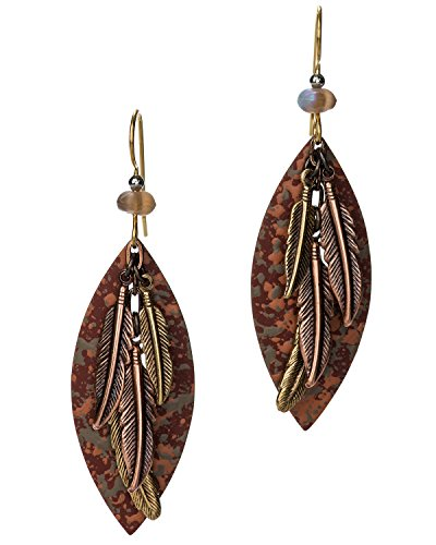 (Hammered Layered Oxidized Feathers Red Antique Textured Earrings by Silver)