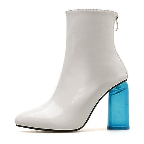 Botas de Mujer Tacones Alto Sharp Elegantes Botines Botas de Tacones Azul Transparente: Amazon.es: Zapatos y complementos