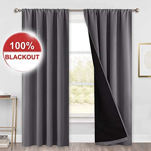 PONY DANCE Thermal Blackout Curtains – 52 W by 95 L, Grey 100 Light Block Rod Pocket Curtain Panels Draperies with Black Backing Thick Soundproof for Bedroom Home Decor, 2 PCs