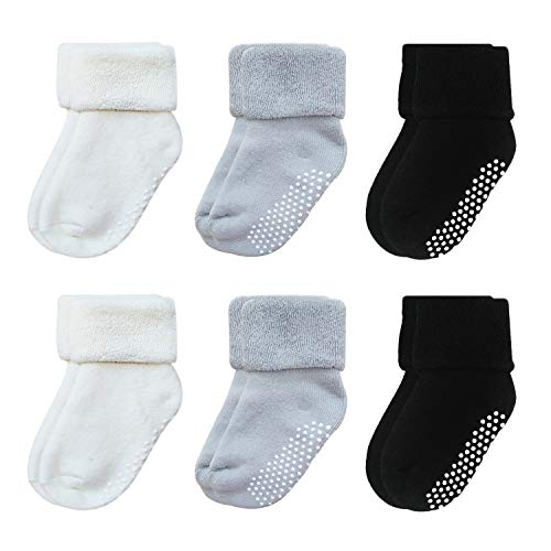 - VWU 6 Pack Baby Socks with Grips Toddler Thick Cotton Socks Anti Slip 0-3 Years Old (2 White 2 Grey 2 Black, 1-3 years)