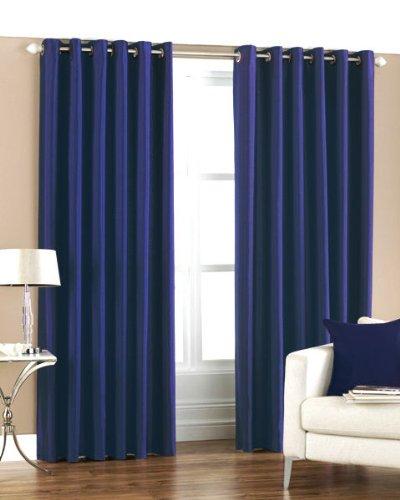 Homefab India Royal 2 Piece Polyester Curtain Set - 7ft, Blue