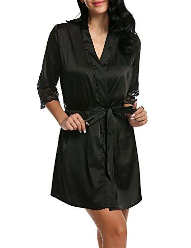 BeautyUU Robe Robe Ceinture de en Pyjama Satin de 3 Nuit de Vtement Kimono Chambre type Noir Femme Nuit qxY6PArwq