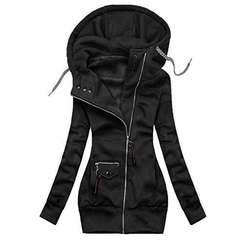 BiuBuy Winter Warm Long Jacket Zip Up Coat Womens Hooded Parka Overcoat Solid Drawstring Outwear Black