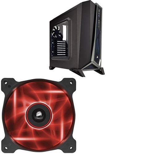 Corsair Carbide Series SPEC-ALPHA Mid-Tower Gaming Case,  Black/Silver and Corsair Air Series AF120 LED Quiet Edition High Airflow Fan Single Pack - Red