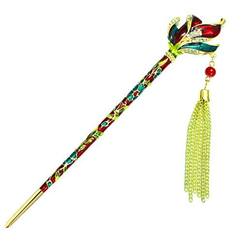 [YOY Fashion Long Hair Decor Chinese Traditional Style Hair Stick Hair Pin for Women Girls Hair Making Accessory with Enamel Floral 6.5