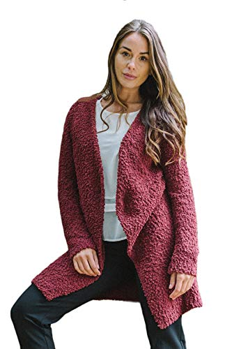 Boucle Berry - YEST Boucle Long Woman's Sweater-Dark Berry 8