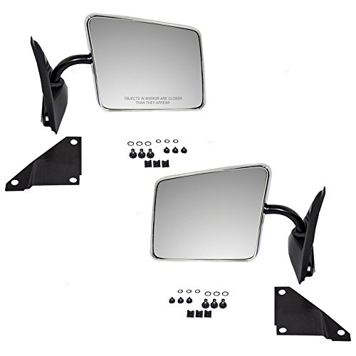 Driver and Passenger Manual Side View Chrome Mirrors Below Eyeline Replacement for GMC Chevrolet Oldsmobile Pickup Truck 15642573 15642574 (Eyeline Below Side Mirror Manual)