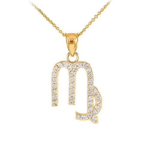 Collier Femme Pendentif 14 Ct Or Jaune Vierge Zodiaque Signe Diamant (Livré avec une 45cm Chaîne)