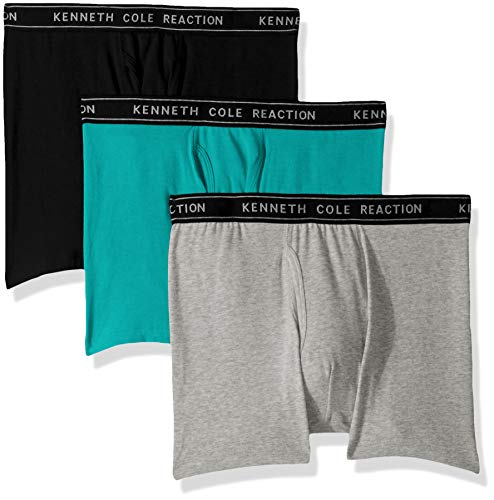 Kenneth Cole REACTION Men's Cotton Stretch Boxer Brief Underwear, Multipack, Black, Grey, Aqua - 3 Pack Large,