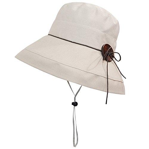 - LETHMIK Womens Floppy Wide Brim Hat,Summer UV Protection Beach Sun Bucket Hat Foldable&Packable Cap Beige