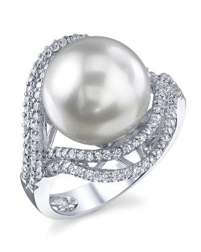 12mm White South Sea Cultured Pearl & Diamond Clara Ring in 18K (12mm Diamond Pearl)