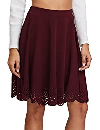 Women's Basic Stretchy Scallop Hem A Line Skirt