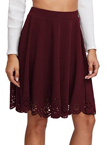 Stretchy Scallop Hem A Line Skirt X-Large Burgundy# ()