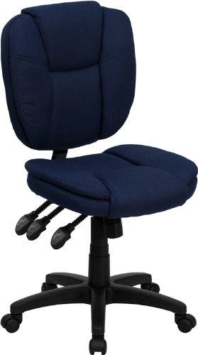 Flash Furniture Mid-Back Navy Blue Fabric Multifunction Ergonomic Swivel Task Chair