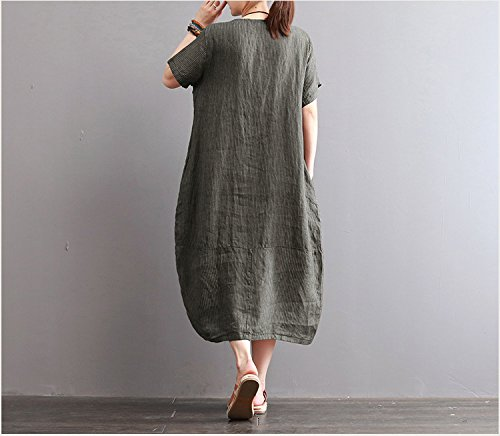 lange streifen kurze ärmel kleid, großen runden hals kleid