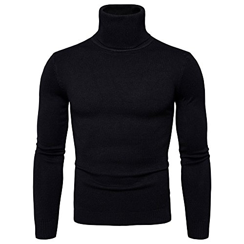 Lavnis Men's Turtleneck Pullover Sweater Casual Basic Knitted Slim Fit Sweatershirts Black S