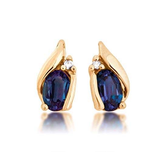 Created Alexandrite and Diamond Earrings in 10K Yellow Gold - DXE 3539DCRA