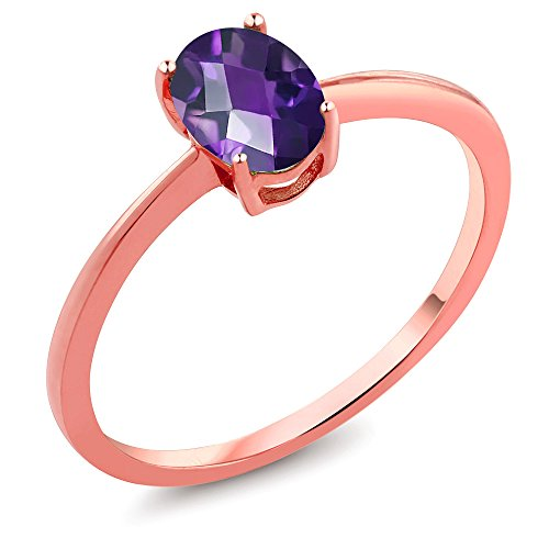 0.75 Ct Oval Checkerboard Purple Amethyst 10K Rose Gold ()