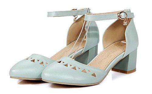 Kitten WeenFashion Sandals Round Women's Blue Closed Pu Heels Toe Solid Buckle gEqPwEFT