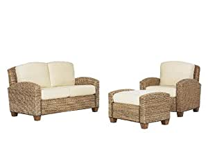 Home Styles 5401-200 Cabana Banana Chair, Ottoman and Love Seat, Honey Finish