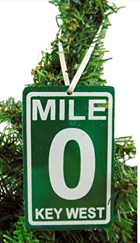 Mile 0 Sign Christmas Ornament Wooden Tree Decoration with Hand Painted Key West Mile Marker Zero