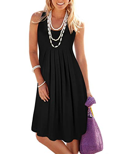 Sleeveless Black (KILIG Women's Summer Casual Loose Pleated Solid Color Sleeveless Vest Dresses(Black_2,S))