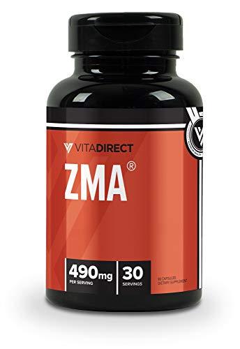 VitaDirect Premium ZMA Supplement, 490mg per Serving, 90 Vegan Capsules, for Men and Women (Best Zma On The Market)